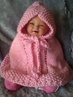 Hand Knit red baby poncho Little Red Riding Hood Halloween baby costume pure ...
