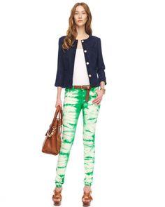 MICHAEL Michael Kors  Washed Linen Blazer & Tie-Dye Skinny Jeans.