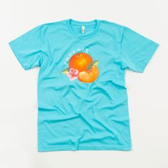 AQUA BLUE WITH PEACH & LOGO The American Apparel Fine Jersey Short Sleeve T-Shirt in Aqua Blue, with Bankrupt! Peach and Phoenix Logo.