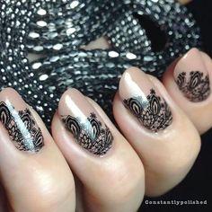 Pretty nail art fashion.  Stamping Nail Art. Black lace