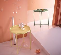 GLADOM Tray Table ($29.99) IKEA says: Let us introduce a modern-looking side table that's small and flexible enough to be placed anywhere in the home. GLADOM tray table is made from smooth metal in soft and dusty yellow or green. It comes with a removable tray that looks nice by itself placed on the floor or wherever it's used