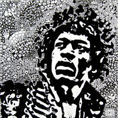Title; Hendrix. Medium: Ink