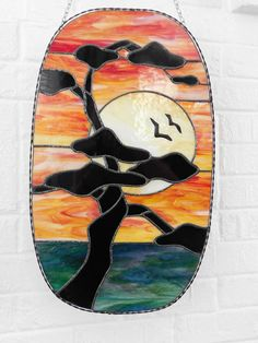 Stained Glass Sunset Silhouette Panel