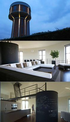 Awesome modern house in Belgium built inside an old water tower.