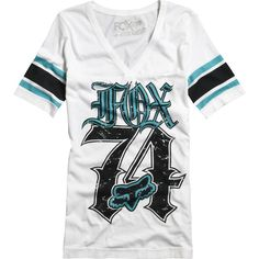 White and Turquoise Fox Racing Shirt