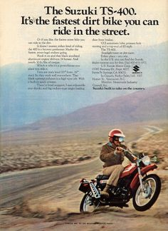 10 old motorcycle adverts that will make you smile Suzuki Motocross, Suzuki Bikes, Enduro Motorcycle, Motorcycle News, Trial Bike, Japanese Motorcycle, Vintage Motorcycles, Sport Motorcycles, Vintage Motocross