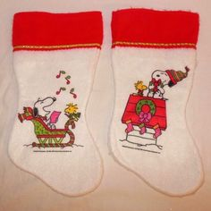 Vintage Peanuts Snoopy Woodstock LOT of 2 Christmas Stockings Red White Felt