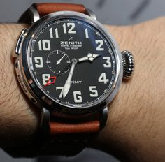 """Zenith Watches Pilot Montre d'Aeronef Type 20 GMT Watch Hands-On - Read Ariel's impressions and see it on the wrist on aBlogtoWatch.com """"This GMT model is a more purist pilot's watch in my opinion. For one thing, the dial is much more clean - it doesn't even have a date display. Second, a GMT complication is arguably much more so a traditional 'aviator complication.' So for me the Pilot Montre d'Aeronef Type 20 GMT is a choice pick when it comes to this bold aviator collection of…"""