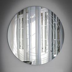 Specchio rotondo Ring con incisioni circolari e concentriche