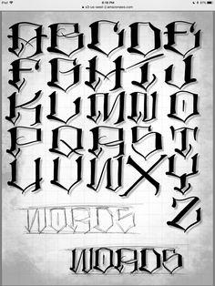 Tattoo Lettering Alphabet, Tattoo Fonts Cursive, Tattoo Lettering Styles, Chicano Lettering, Graffiti Lettering Fonts, Hand Lettering Fonts, Alfabeto Tattoo, Graffiti Alphabet Styles, Letras Tattoo