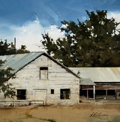 "Joseph Alleman || Old Sheds 2010, Oil ~ 11"" x 11"""