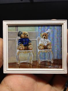 Miniature ordered custom work. Teddy Bears. Acrylic on cardboard.