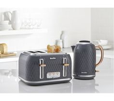 BREVILLE Curve Jug Kettle - Grey & Rose Gold + Curve Toaster - Granite Grey Power: 3000 W; Small Kitchen Appliances, Kitchen Items, Kitchen Gadgets, New Kitchen, Kitchen Decor, Kitchen Design, Kitchen Stuff, Kitchen Utensils, Kitchen Tools