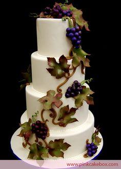 Wedding Cakes.  I love the fondant grapes