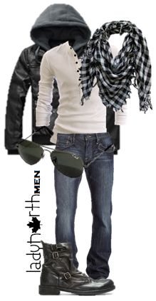 outfit by LadyNorth, Keffiyah, leather jacket, henley shirt Fashion leather articles at 60 % wholesale discount prices Stylish Mens Outfits, Casual Outfits, Men Casual, Henley Shirts, Mode Outfits, Fashion Outfits, Fashion Weeks, Mode Cool, Mode Man