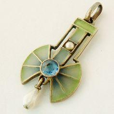 Original vintage art deco jugendstil plique a jour pendant with cornflower sapphire and pearls