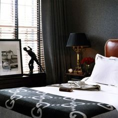 masculine bedroom vignette
