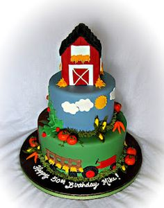 Old McDonald had a farm...E-I-E-I-Oh!  Great cake for the Farmville freak. lol