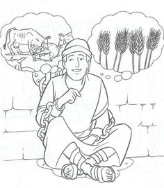 God giving Joseph the interpretation of Pharaoh's dreams about the cows and the wheat. Bible coloring page Sunday School Activities, Sunday School Lessons, Sunday School Crafts, School Coloring Pages, Bible Coloring Pages, Coloring Books, Preschool Bible, Bible Activities, Bible Story Crafts