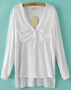 White Long Sleeve Pockets Dipped Hem Blouse pictures