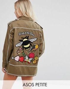 Рубашка-куртка с вышитой пчелой и отделкой ASOS PETITE