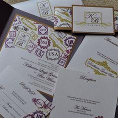 Deposit - Pocketfold Invitation (Monogram Passport Stamps). $40.00, via Etsy.