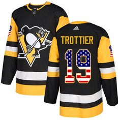 f87cfba27 Adidas Penguins  19 Bryan Trottier Black Home Authentic USA Flag Stitched  NHL Jersey Nhl Jerseys