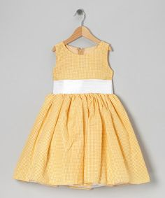Love this Yellow Gingham Bow Dress - Infant, Toddler & Girls by Kid Fashion on #zulily! #zulilyfinds