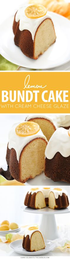 Lemon Bundt Cake - easy lemon pound cake recipe that packs a powerful lemon punch, topped with a relaxed cream cheese glaze and candied lemon slices. Dump Cake Recipes, Frosting Recipes, Dessert Recipes, Desserts, Sweets Cake, Cupcake Cakes, Cupcakes, Lemon Bundt Cake, Sweets