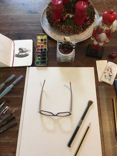 Sarah J. Loecker : Christmas is coming to the studio- minisketchbook . Christmas Themes, Christmas Cards, Christmas Ornaments, Art Stand, Watercolor Sketchbook, Sarah J, Fall Pictures, Christmas Is Coming, Workshop