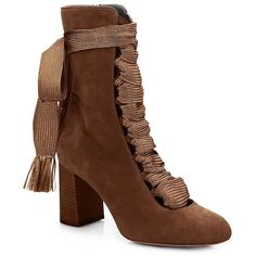 Chloe Harper Suede Lace-Up Ankle Boots (1,764 CAD) ❤ liked on Polyvore featuring shoes, boots, ankle booties, apparel & accessories, chocolate, lace up bootie, suede booties, suede lace up boots, lace up booties and block heel booties