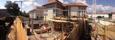 A panoramic view of the new building construction this week at Candler, with the Rita Anne Rollins Building in the background.