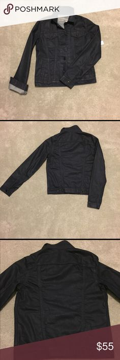 GAP Dark Denim Jean Jacket XS This is a GREAT jacket. It is dark denim, has black buttons, monochromatic stitching and it is also coated to provide sheen.  I ❤️❤️❤️ a denim jacket in the fall.  Size: XS  Approximate measurements:  Chest: 18 inches  Shoulder to hem: 21.5 inches  Shoulder to wrist: 25 inches  Hem: 17.5 inches GAP Jackets & Coats Jean Jackets