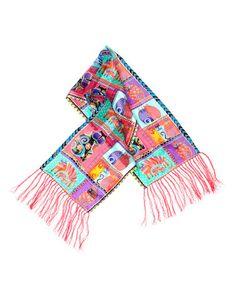 Look at this #zulilyfind! Coral Feline Collage Silk Scarf #zulilyfinds