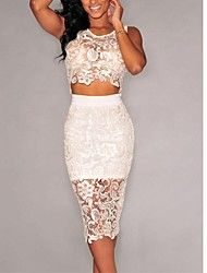 Omine Women's Floral Lace Skirt Set Illusion See Through Sheer Lace Party Dress White Large from Omine Cyber Monday Black Friday Blouse And Skirt, Lace Skirt, Lace Dress, Midi Skirt, White Dress, Lace Party Dresses, Bodycon Dress Parties, Sexy Dresses, Robes Glamour