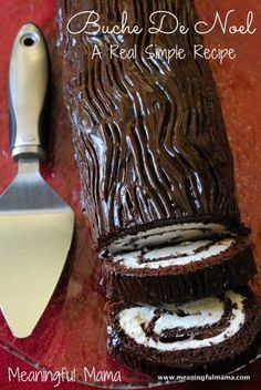 Buche De Noel Yule Log Recipe from Real Simple - This is the perfect balance of rich chocolate and fluffy cream. It is great for Christmas parties. - Meaningful Mama Buche De Noel is French for Christmas Yule Log, Christmas Sweets, Christmas Cooking, Holiday Baking, Christmas Desserts, Christmas Parties, Christmas Cupcakes, Simple Christmas, Christmas Chocolate