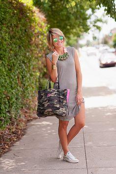 Super Cute dress w/studded converse  A Camo Connection | SEERSUCKER SADDLES