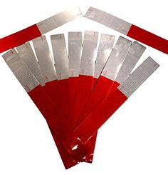 "Reflective Tape-Red and White Reflective Strips-Premium Quality 8 mil Thickness-2"" x 18""-Reflexite Conspicuity V82 OEM Grade Tape, DOT-C2 Auto Stickers-Many to choose from-Made in the USA! (2"" x 18"" 12 Pack)..."