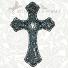 Montana West Wall Decor Cross/Longhorn at Cowgirl Blondie's Dumb Blonde Boutique