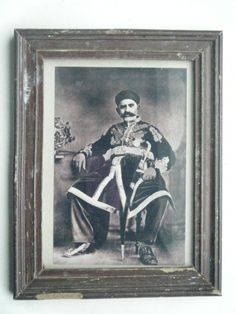 His Highness Maharaja Vintage Photograph In Vintage Old Wooden Frame India #2312