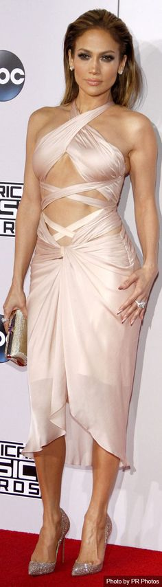 Jennifer Lopez Wearing Reem Acra Dress – 2014 American Music Awards