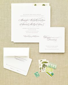 very cool <32 of 55 >  Elegant and Eco-Friendly Invitation    This eggplant-and-chartreuse design is printed on 100 percent cotton paper made from reclaimed fiber with vegetable-based inks.    The Lettered Olive