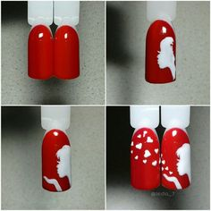 Girl blowing hearts #nails multi-nail design Valentine's Day
