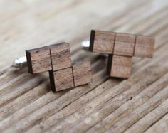 Tetris Cufflinks, walnut wood, 5th year anniversary gift, laser cut wedding cufflinks