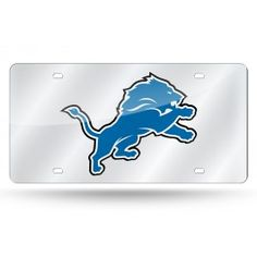 Detroit Lions Laser Etched License Plate/Tag (Silver)
