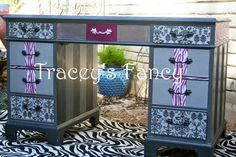 Custom Painted Vintage Pedestal Desk MADE TO by TraceysFancy