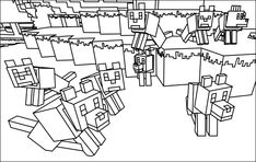 Printable Minecraft Wolves coloring pages.