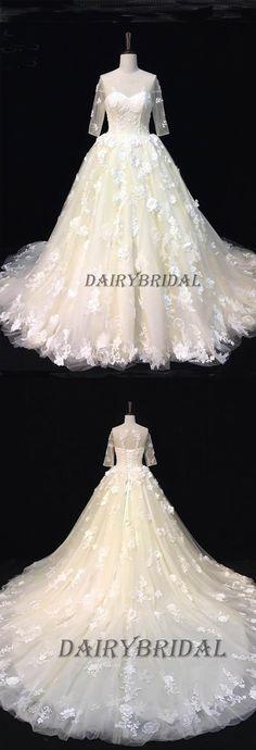 Tulle Wedding Dress, Applique Wedding Dress, Open-Back Wedding Dress, DA992 #dairybridal