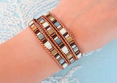 Bracciale Wrap con Tila Beads di MaisJewelry su Etsy https://www.etsy.com/it/listing/176348315/bracciale-wrap-con-tila-beads