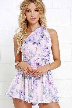 Effusive Praise Lavender Floral Print Convertible Romper